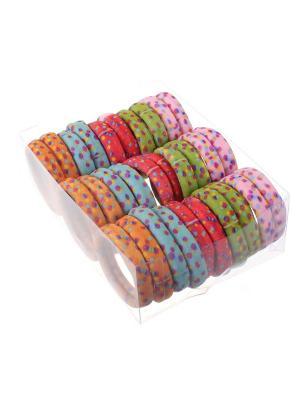 Резинки для волос в коробочке разноцветные пастельные крапинку, набор 30 шт Радужки. Цвет: синий,зеленый,красный
