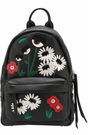 Рюкзак Flirting с вышивкой в виде цветов Chiara Ferragni. Цвет: черный