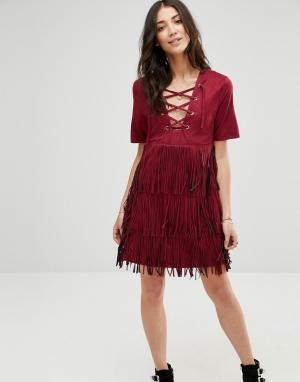 Raga Платье с бахромой Wild. Цвет: красный