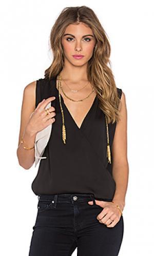 Блузка с запахом LAcademie L'Academie. Цвет: черный