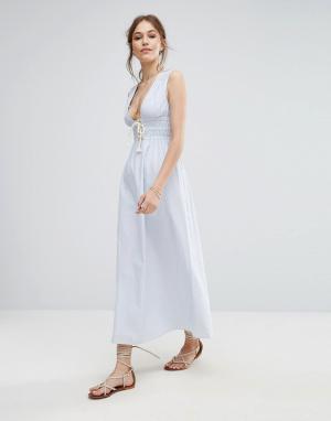 Moon River Платье макси в полоску. Цвет: синий