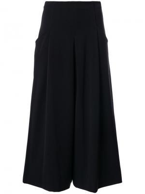 Укороченные широкие брюки Stefano Mortari. Цвет: чёрный