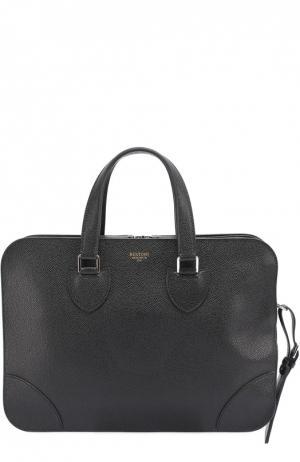 Кожаная сумка для ноутбука с плечевым ремнем Bertoni. Цвет: черный