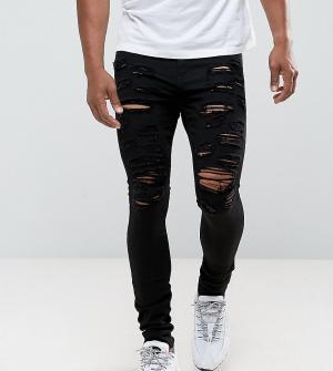 Jaded London Супероблегающие рваные джинсы черного цвета. Цвет: черный