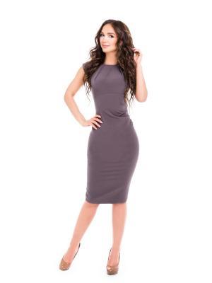 Крутое платье-футляр с вырезом лодочкой тёмно-серого цвета из приятного струящегося материала ModaMania