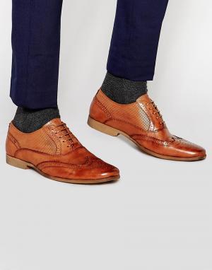Front Кожаные светло-коричневые броги. Цвет: коричневый