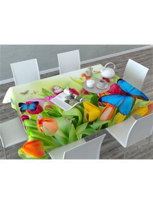 Скатерть 3D Бабочки Сирень. Цвет: белый, зеленый, голубой, красный, оранжевый, желтый