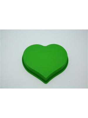 Форма силиконовая 25x22x4,5см, Сердце. Vetta. Цвет: зеленый