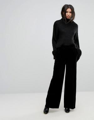 Dr Denim Бархатные брюки с широкими штанинами. Цвет: черный