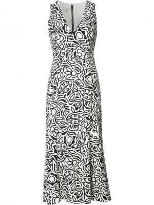Платье шифт с цветочым принтом Narciso Rodriguez. Цвет: белый