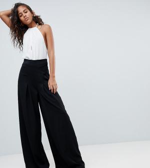 Missguided Tall Широкие брюки со складками. Цвет: черный