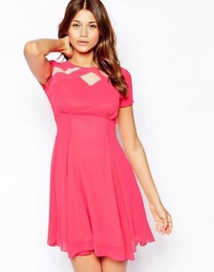 Elise Ryan Короткое приталенное чайное платье с сетчатыми вставками. Цвет: розовый