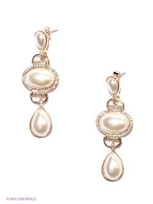 Серьги Lovely Jewelry. Цвет: золотистый, белый