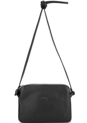 Черная кожаная сумка через плечо Bruno Rossi. Цвет: черный