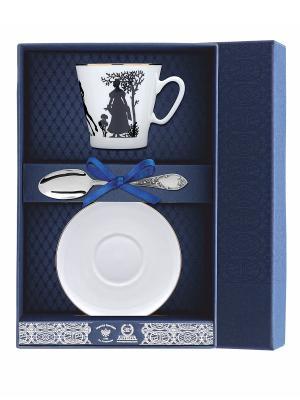 Набор кофейный Черный кофе-Всадник 3 предмета + футляр АргентА. Цвет: серебристый