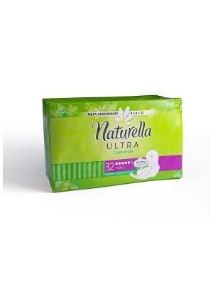 Женские гигиенические прокладки ароматизированные Camomile Maxi Quatro, 32шт NATURELLA. Цвет: салатовый