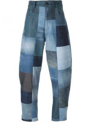 Джинсы лоскутного кроя Giuliano Fujiwara. Цвет: синий