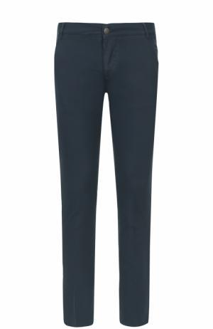 Хлопковые брюки прямого кроя 2 Men Jeans. Цвет: темно-синий