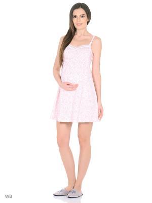Ночная сорочка для беременных и кормящих Hunny Mammy. Цвет: белый, розовый