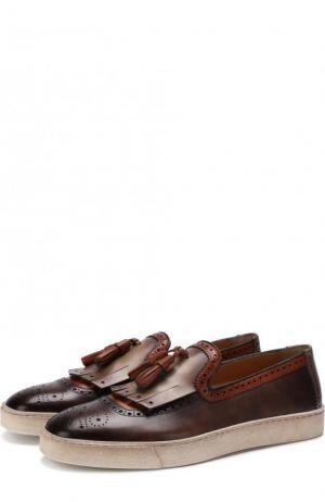 Кожаные слипоны с брогированием Santoni. Цвет: коричневый