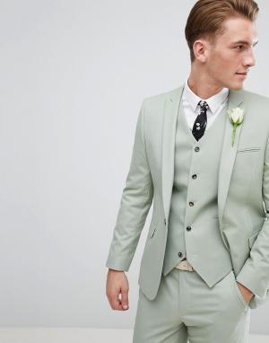 ASOS Зеленый приталенный пиджак Wedding. Цвет: зеленый