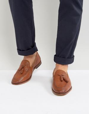 ASOS Светло-коричневые кожаные лоферы с кисточками. Цвет: рыжий