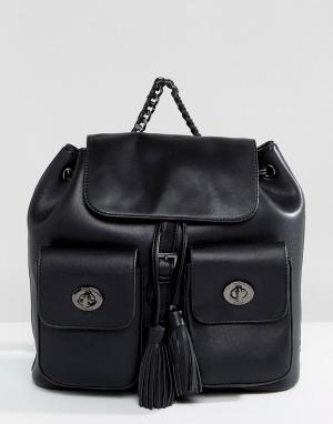 Marc B Черный рюкзак с двумя карманами и кисточками. Цвет: черный