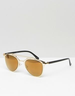 Jeepers Peepers Золотистые зеркальные солнцезащитные очки‑авиаторы. Цвет: золотой