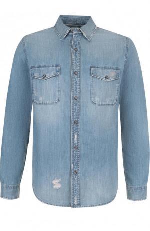 Джинсовая рубашка с потертостями Ag. Цвет: голубой