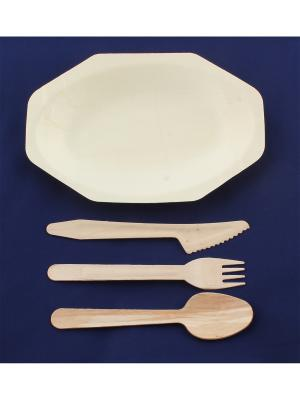 Набор экопосуды из березы и тополя (тарелка, ложка, вилка, нож) Радужки. Цвет: светло-коричневый
