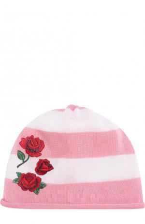 Хлопковая шапка с аппликацией Catya. Цвет: розовый