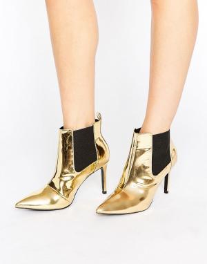 Office Золотистые зеркальные полусапожки на каблуке Angles. Цвет: золотой