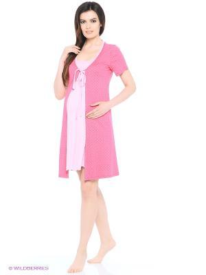 Комплект для беременных и кормящих (халат+сорочка) FEST. Цвет: розовый