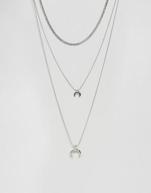 DesignB London Ярусное ожерелье с подвесками. Цвет: серебряный