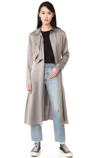 Атласное пальто-тренч 50 BLK DNM. Цвет: серо-коричневый