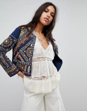 Raga Куртка с вышивкой Arwen. Цвет: темно-синий