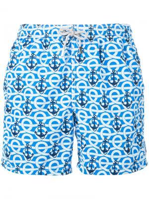 Плавательные шорты с принтом якорей Mc2 Saint Barth. Цвет: синий