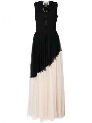 Тюлевое длинное платье Fausto Puglisi. Цвет: чёрный