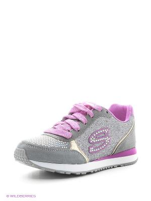 Кроссовки SKECHERS. Цвет: серый, розовый