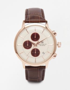 Accurist Коричневые часы из нержавеющей стали с хронографом. Цвет: коричневый