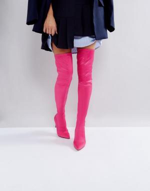 ASOS Ботфорты с острым носком KINDY. Цвет: розовый