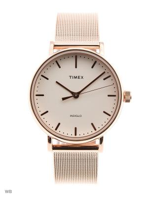 Часы TIMEX. Цвет: серебристый, золотистый