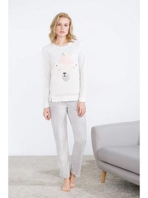 Пижама Women' Secret. Цвет: бежевый, молочный, серый