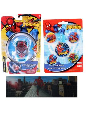 Набор Spider Man из 7-ми предметов (1 игрушка-фонарик, 1 закладка-линейка, 5 значков) Spider-Man. Цвет: синий, красный