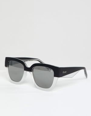Quay Australia Черно-белые круглые солнцезащитные очки. Цвет: черный