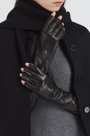 Высокие кожаные перчатки Gucci. Цвет: черный