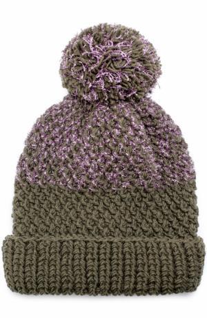 Шерстяная вязаная шапка с помпоном и отделкой металлизированной нитью 0711. Цвет: хаки