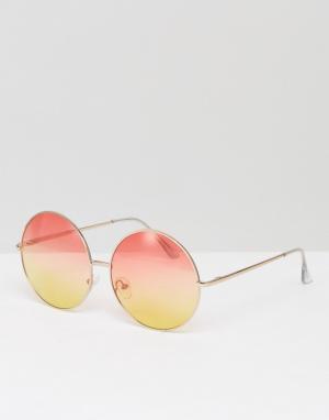 Skinnydip Круглые солнцезащитные очки с розово-желтыми стеклами. Цвет: мульти
