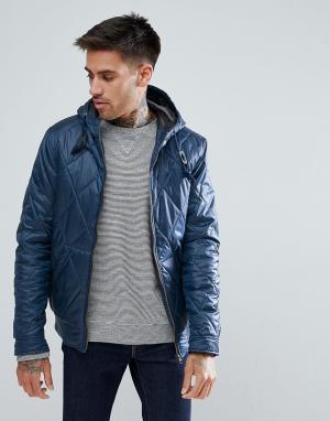 Ringspun Стеганая куртка с капюшоном. Цвет: темно-синий