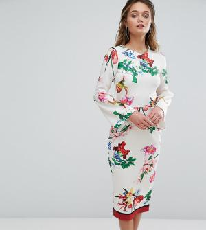 True Violet Платье миди с цветочным принтом и рукавами клеш. Цвет: мульти